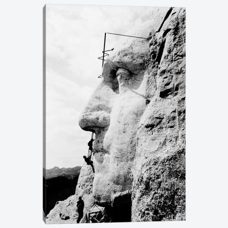 Construction Of George Washington's Face On Mount Rushmore, 1932 Canvas Print #TRK2783} by John Parrot Art Print