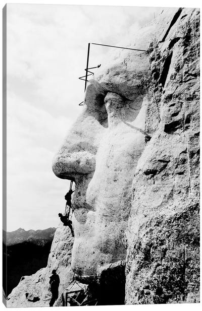 Construction Of George Washington's Face On Mount Rushmore, 1932 Canvas Art Print