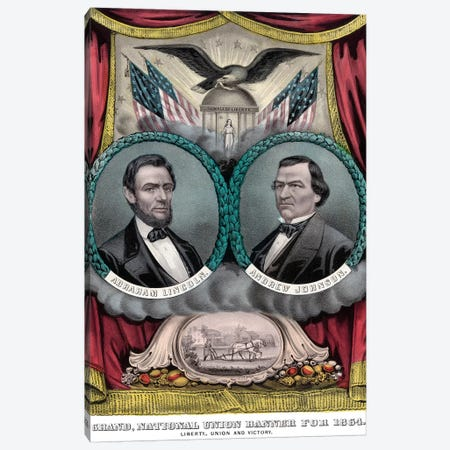 Restored 1864 Election Banner Canvas Print #TRK2784} by John Parrot Canvas Wall Art
