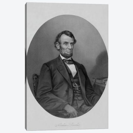 Restored Civil War Artwork Of President Abraham Lincoln Sitting In A Chair Canvas Print #TRK2786} by John Parrot Canvas Wall Art