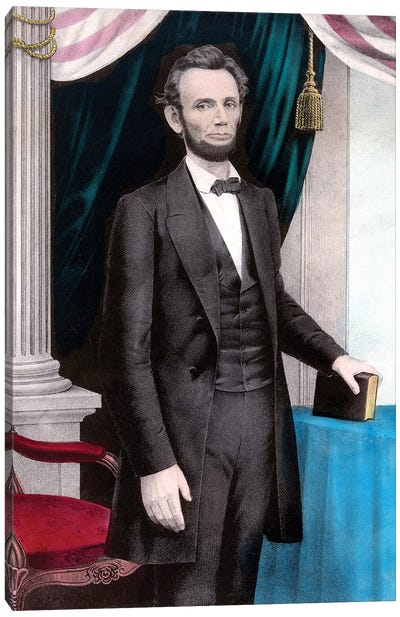 Restored Civil War Era Color Painting Of President Abraham Lincoln Canvas Art Print
