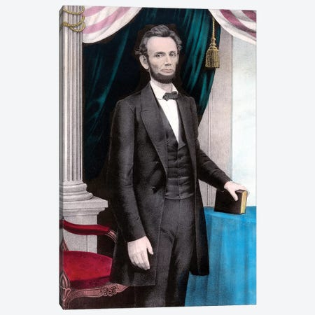 Restored Civil War Era Color Painting Of President Abraham Lincoln Canvas Print #TRK2787} by John Parrot Canvas Wall Art