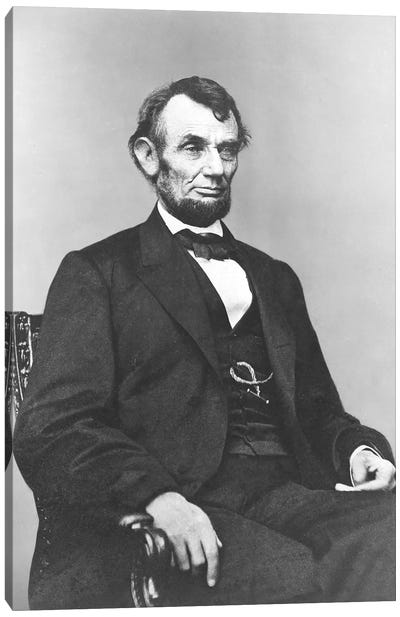 Restored Civil War Era Painting Of President Abraham Lincoln Canvas Art Print