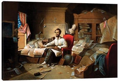 Restored Civil War Print Of President Lincoln Writing The Emancipation Proclamation Canvas Art Print