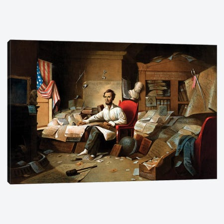 Restored Civil War Print Of President Lincoln Writing The Emancipation Proclamation Canvas Print #TRK2789} by John Parrot Art Print