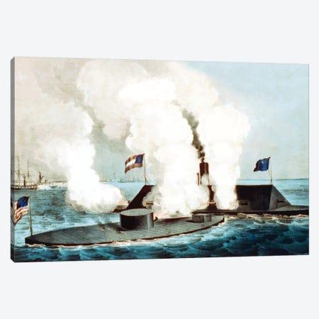 Restored Civil War Vector Image Showing The Battle Of Hampton Roads Canvas Print #TRK2790} by John Parrot Canvas Art