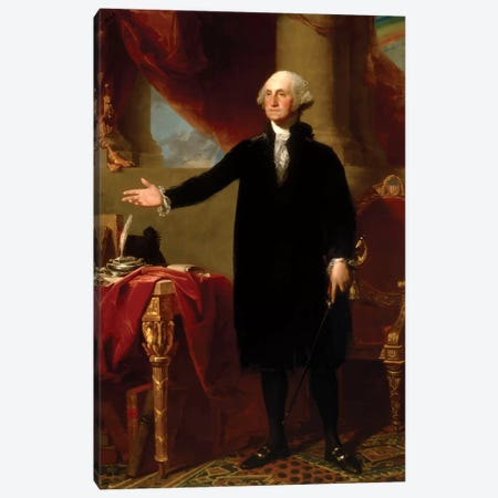 Restored Lansdowne Portrait Of President George Washington Canvas Print #TRK2791} by John Parrot Canvas Artwork