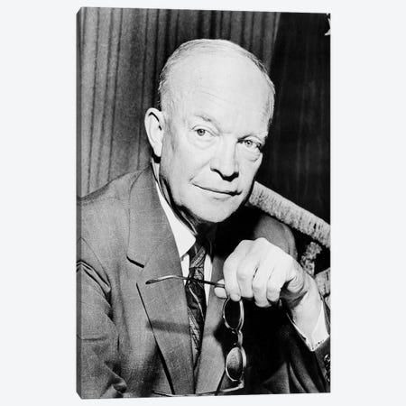 Restored Photo Of Dwight Eisenhower Holding A Pair Of Glasses Canvas Print #TRK2792} by John Parrot Canvas Artwork