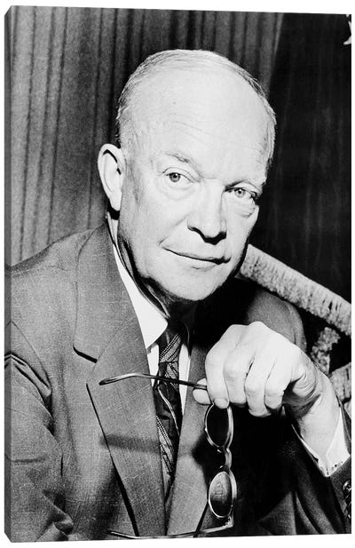 Restored Photo Of Dwight Eisenhower Holding A Pair Of Glasses Canvas Art Print