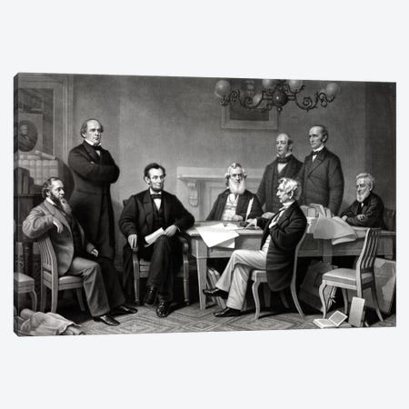 Restored Picture Of President Lincoln Reading The Emancipation Proclamation To His Cabinet Canvas Print #TRK2794} by John Parrot Canvas Print