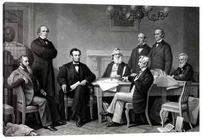 Restored Picture Of President Lincoln Reading The Emancipation Proclamation To His Cabinet Canvas Art Print