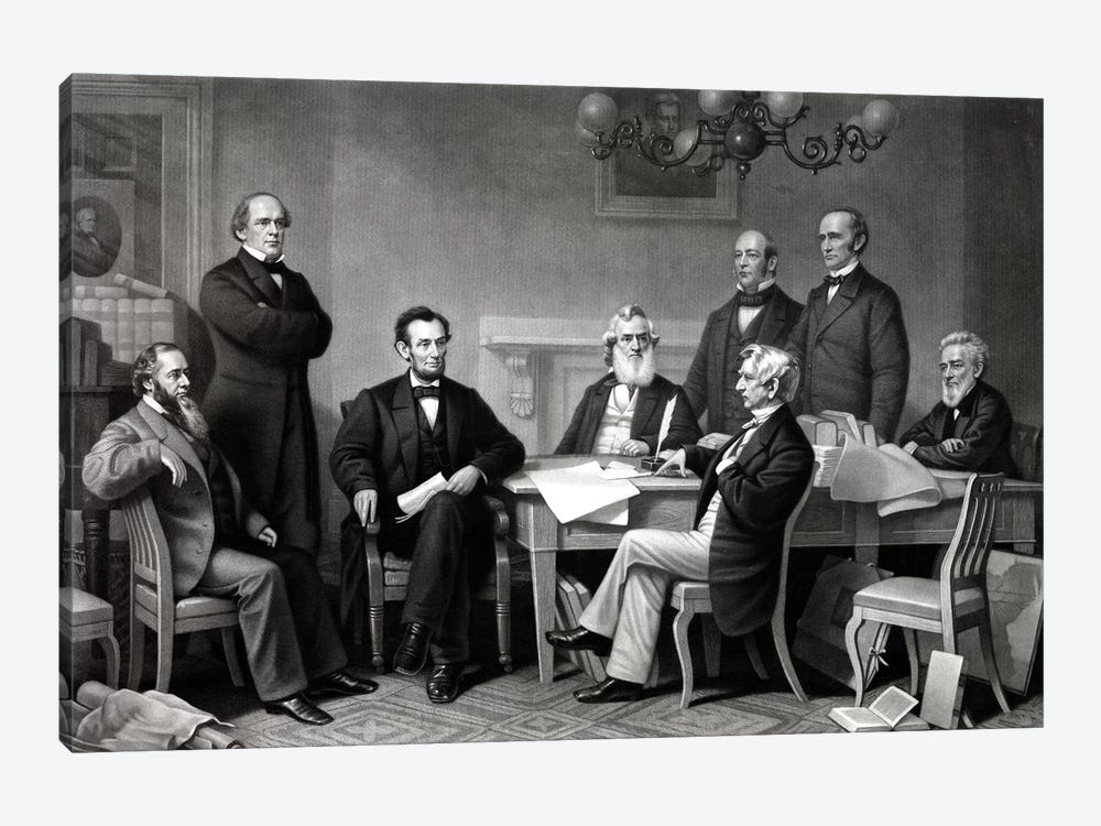 Restored Picture Of President Lincoln Reading The Emancipation Proclamation To His Cabinet by John Parrot 1-piece Art Print