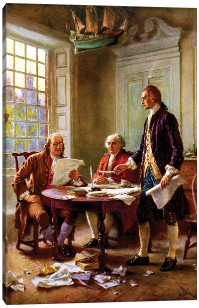 Restored Vector Painting Of The Writing Of The Declaration Of Independence Canvas Art Print