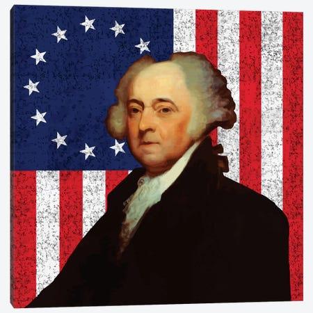 Restored Vector Portrait Of John Adams Against The American Flag Canvas Print #TRK2798} by John Parrot Canvas Artwork