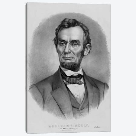 Restored Vintage Abraham Lincoln Print Canvas Print #TRK2799} by John Parrot Canvas Wall Art