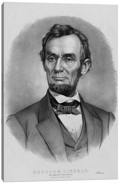 Restored Vintage Abraham Lincoln Print Canvas Art Print