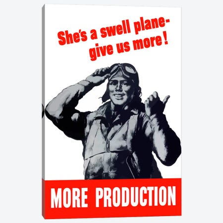 More Production Vintage Wartime Poster Canvas Print #TRK27} by John Parrot Canvas Art Print
