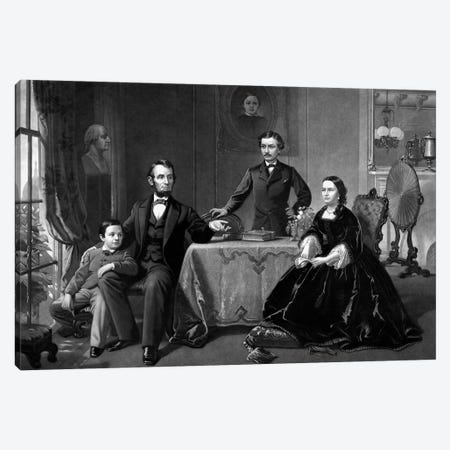 Restored Vintage Print Of President Abraham Lincoln And His Family Canvas Print #TRK2804} by John Parrot Canvas Print