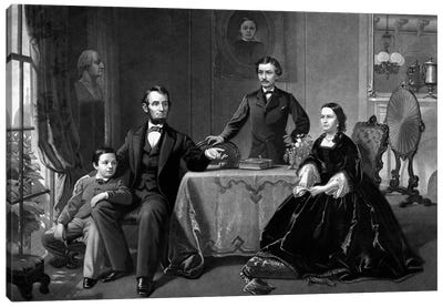 Restored Vintage Print Of President Abraham Lincoln And His Family Canvas Art Print