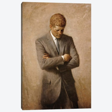 Portrait Painting Of President John Fitzgerald Kennedy Canvas Print #TRK2809} by John Parrot Canvas Wall Art