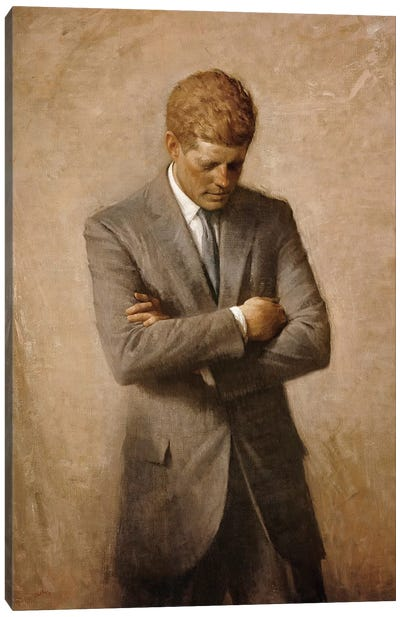 Portrait Painting Of President John Fitzgerald Kennedy Canvas Art Print