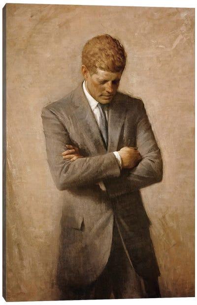 Portrait Painting Of President John Fitzgerald Kennedy Canvas Art Print
