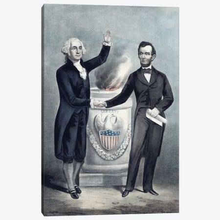 President Washington And President Lincoln Shaking Hands Canvas Print #TRK2816} by John Parrot Canvas Art