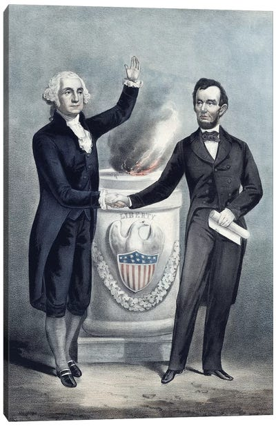 President Washington And President Lincoln Shaking Hands Canvas Art Print