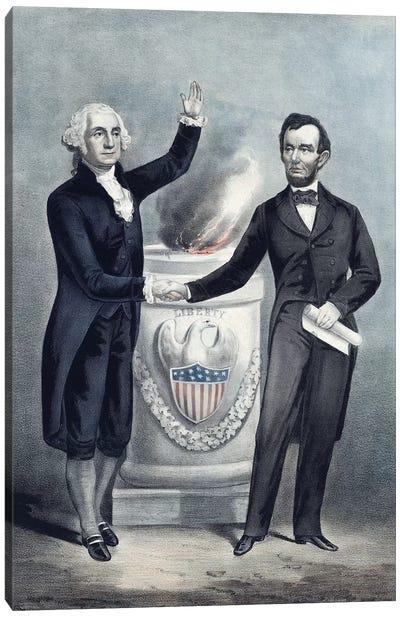 President Washington And President Lincoln Shaking Hands Canvas Art Print
