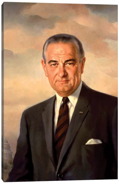 Presidential Portait Of Lyndon Baines Johnson Canvas Art Print