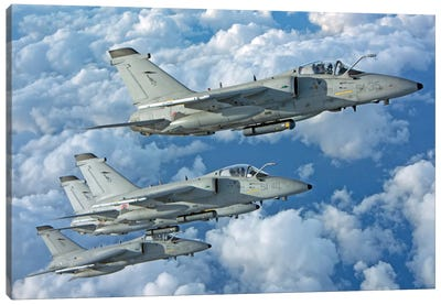 Formation Of Italian Air Force AMX-ACOL Aircraft Over Italy Canvas Art Print