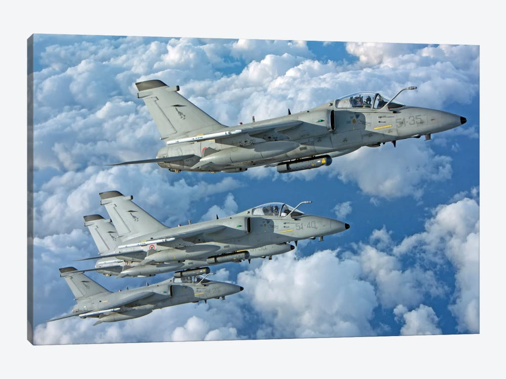Formation Of Italian Air Force AMX-ACOL Aircraft Over Italy by Giovanni Colla 1-piece Canvas Print