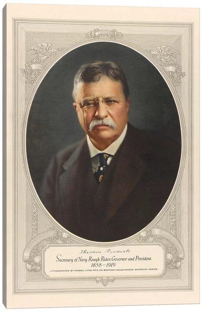 Vintage American History Print Of President Theodore Roosevelt Canvas Art Print