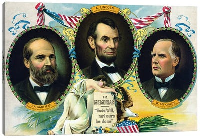 Vintage Print Of Presidents James Garfield, Abraham Lincoln, And William Mckinley Canvas Art Print
