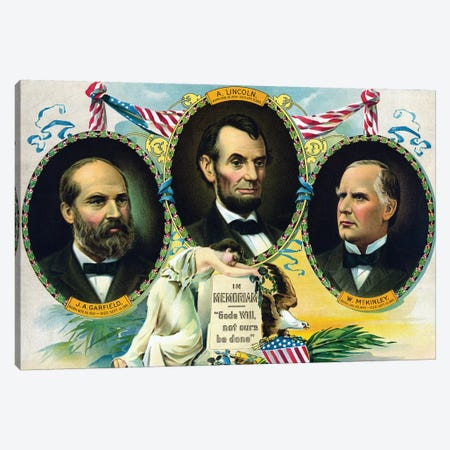 Vintage Print Of Presidents James Garfield, Abraham Lincoln, And William Mckinley Canvas Print #TRK2827} by John Parrot Canvas Print