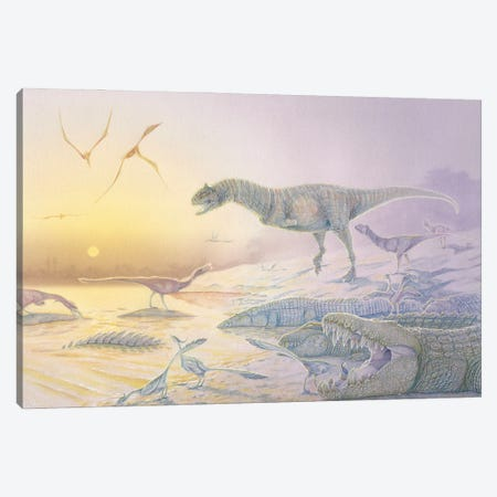 A Late Cretaceous dinosaur scene in watercolor and acrylic paint. Canvas Print #TRK2829} by Alice Turner Canvas Wall Art