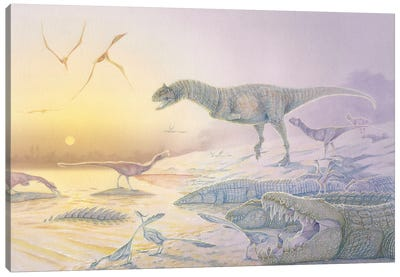 A Late Cretaceous dinosaur scene in watercolor and acrylic paint. Canvas Art Print