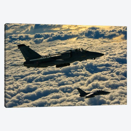 Italian Air Force AMX-ACOL Aircraft Flying Above The Clouds Canvas Print #TRK282} by Giovanni Colla Art Print