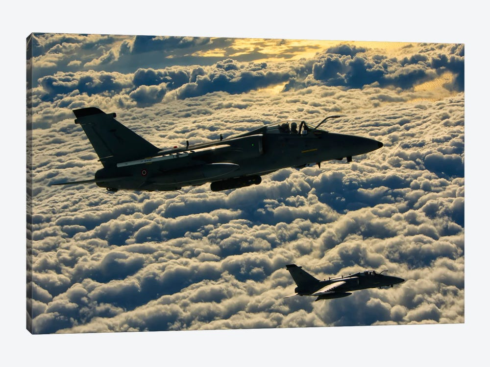 Italian Air Force AMX-ACOL Aircraft Flying Above The Clouds by Giovanni Colla 1-piece Canvas Art