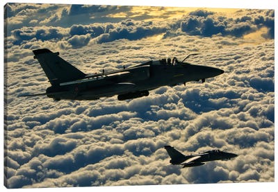 Italian Air Force AMX-ACOL Aircraft Flying Above The Clouds Canvas Art Print