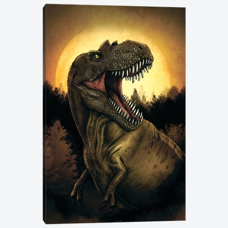 Albertosaurus dinosaur roaring under moonlight. Canvas Print #TRK2830} by Aram Papazyan Art Print