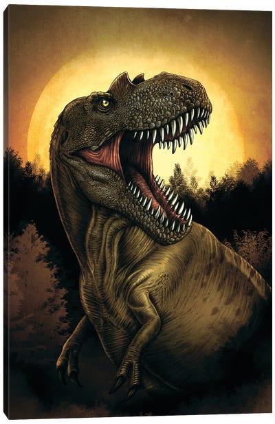 Albertosaurus dinosaur roaring under moonlight. Canvas Art Print