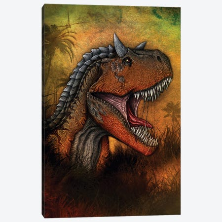 Carnotaurus dinosaur portrait. Canvas Print #TRK2833} by Aram Papazyan Canvas Art Print