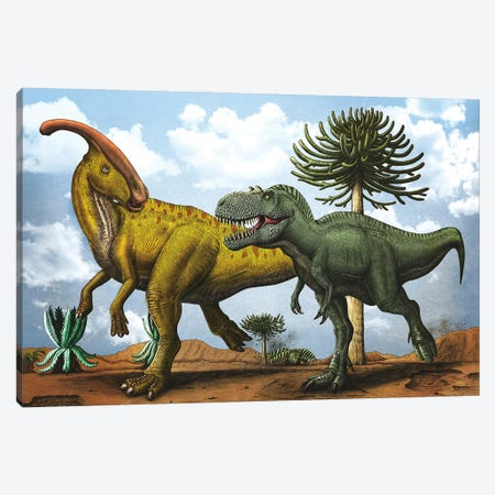 Gorgosaurus dinosaur chasing after a Parasaurolophus. Canvas Print #TRK2834} by Aram Papazyan Canvas Art