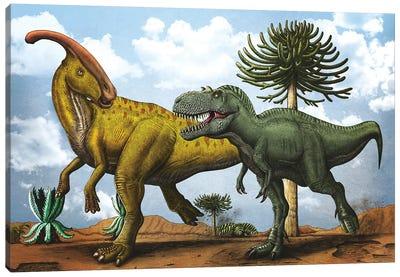 Gorgosaurus dinosaur chasing after a Parasaurolophus. Canvas Art Print