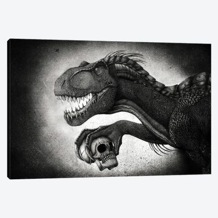Indoraptor dinosaur grasping a skull with its talon. Canvas Print #TRK2836} by Aram Papazyan Canvas Artwork