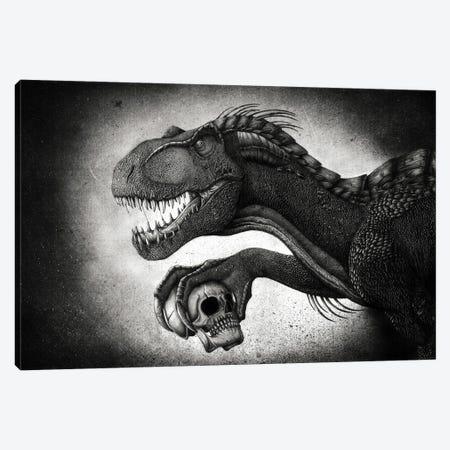 Indoraptor dinosaur grasping a skull with its talon. Canvas Print #TRK2836} by Aram Papazyan Canvas Artwork