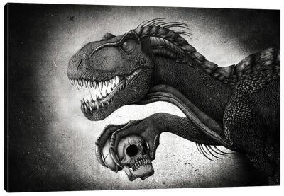 Indoraptor dinosaur grasping a skull with its talon. Canvas Art Print