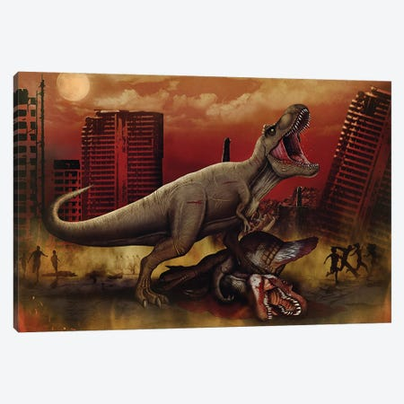 T-rex defeating a Spinosaurus dinosaur in battle. Canvas Print #TRK2838} by Aram Papazyan Canvas Print