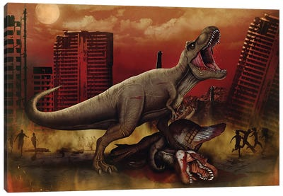 T-rex defeating a Spinosaurus dinosaur in battle. Canvas Art Print